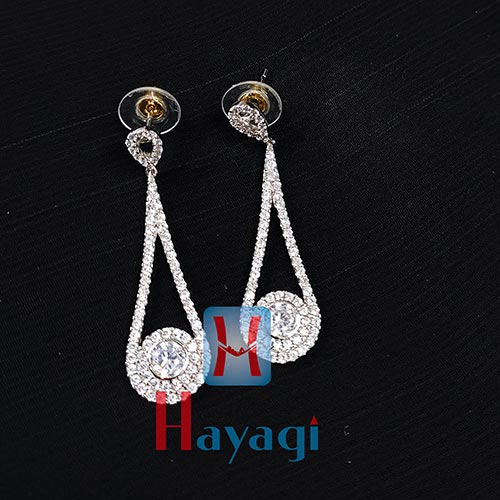Rhodium AD Stones Designer Fancy Studed Earring_Hayagi(Pune)
