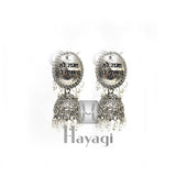 Silver Oxidized Earring Jhumka Imitation Ethnic Jewelry Long_Hayagi