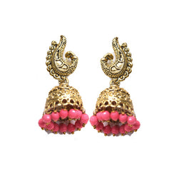 Gold Oxidized Bollywood Fashion Jhumki With Pink Latkan - Hayagi