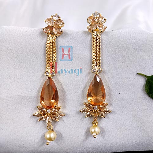 Long Dangler Stone Studded Golden Toned _Hayagi(Pune)