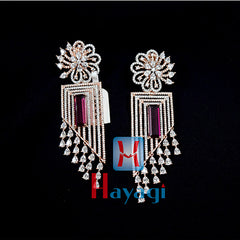 Rose Gold Earrings Sparkling Stones Design -Hayagi