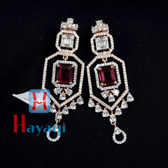 Rose Gold Earrings Sparkling Stone Red Stone Design -Hayagi