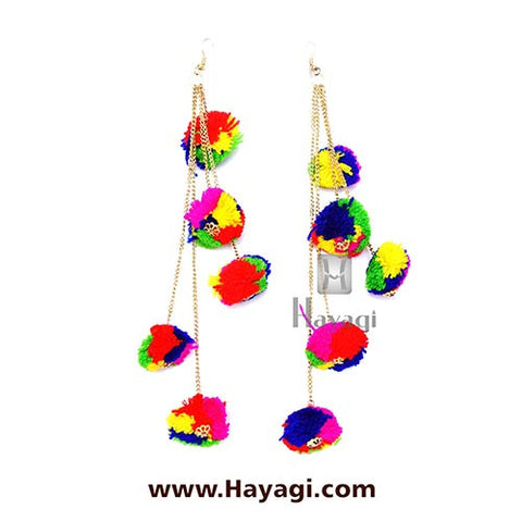 Dangler Pom Pom Earrings for Women - Multi Colour | Hayagi
