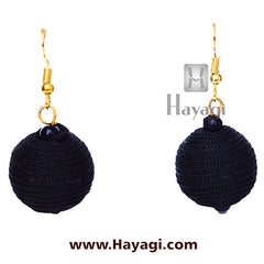 Dangler Thread Black Earrings- Round | Hayagi
