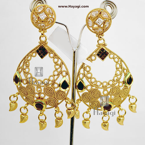 Dangler Earring White Black AD Stones Golden Online_Hayagi
