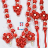 Flower Jewelry Set Red Color Rose Necklace_Hayagi(Pune)