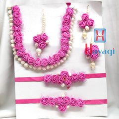 Pink Color Floral Flower Jewelry Set Necklace -Hayagi