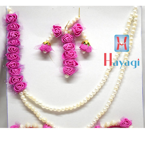 Floral Flower Jewelry Set Pink Color Necklace_Hayagi(Pune)