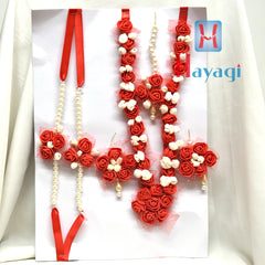 Red Color Floral Flower Pearl Jewelry Necklace Set  -Hayagi