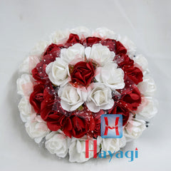 Red White Rose Flowers Hair Bun Ambada -Hayagi
