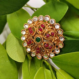 Finger Ring Golden Polish Multicolour Stones_Hayagi(Pune)