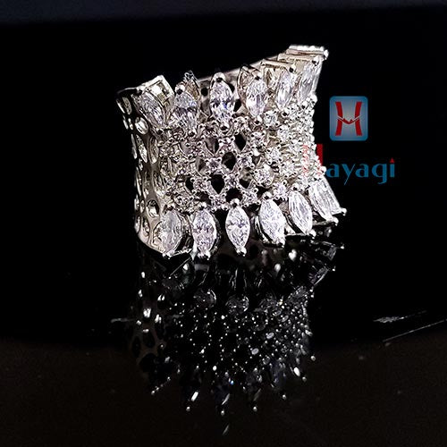 Sterling Silver Finger Ring White Stoned Party Wear _Hayagi (Pune)