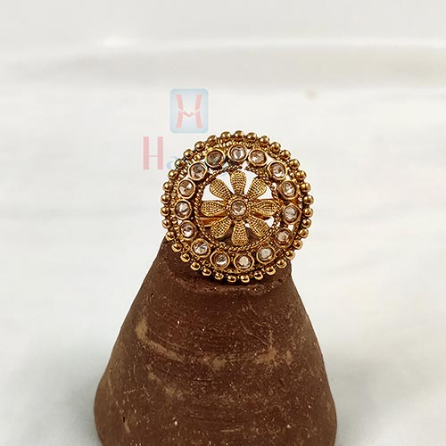 Finger Ring With LCT Stone Studded In Round Shape Buy Online-Hayagi