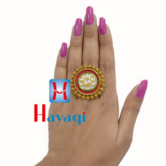 Ring Red Polish Circle Dot Design Buy Online-Hayagi(Pune)