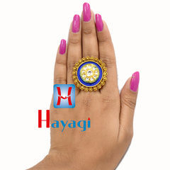 Ring Blue Polish Oval Shape Design Buy Online-Hayagi(Pune)
