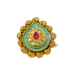 Leaf Finger Ring Design With Pink Stone Buy Online-Hayagi