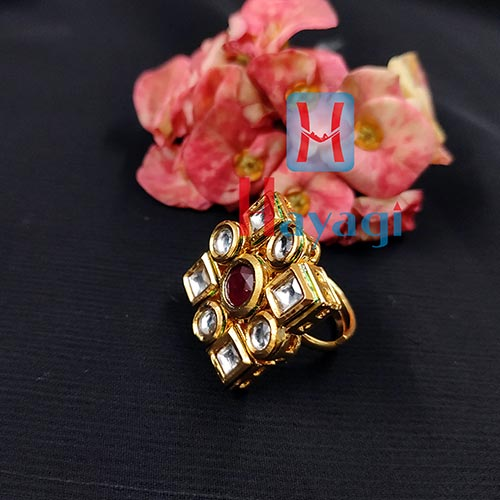 Kundan Finger Ring Golden Polish Buy Online-Hayagi