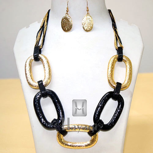 Fashion Jewellery, Antique Black And Vintage Gold Fashion Necklace With Earrings Online-  Hayagi