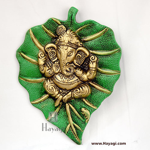 Wall Hanging of Ganesh Ji/Ganapati On Leaf- Hayagi