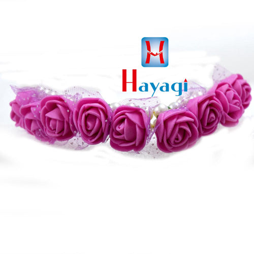 Hair Bun Pink Rose Flowers With Net For Women Online_Hayagi
