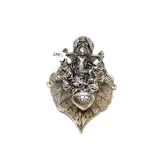 Ganesha/Ganpati And Diya On Leaf In Silver Finish Online - Hayagi