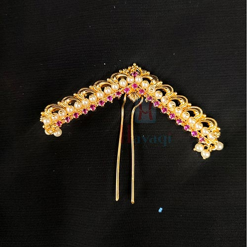 Traditional Hair Bun Pin In Golden Polish Stone Pearl Studded_Hayagi(Pune)
