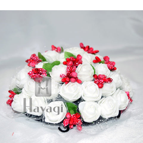 White Rose Flowers With Red Green Leaf And Beads Hair Bun Ambada Online-Hayagi