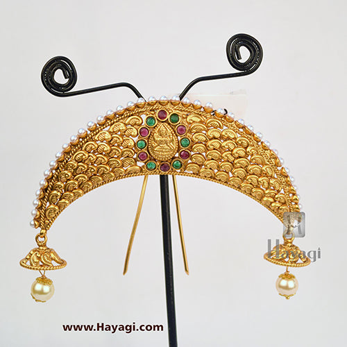 Hair Accessory in Green Marron, Wedding Jewellery Online-Hayagi
