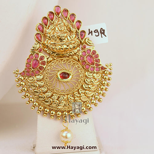 Hair Brooch Bun Pin Laxmi Design Kemp For Women Online-Hayagi