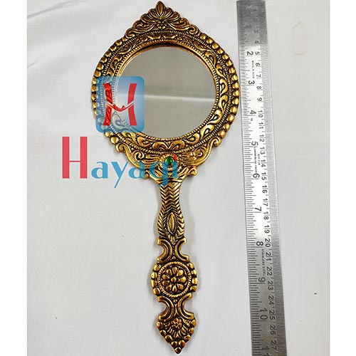Hand Mirror Big Round Shape Design Golden Finish - Hayagi