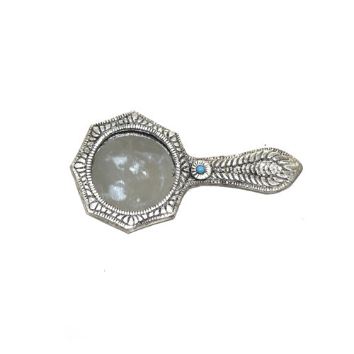 Purse Mirror In Silver Finish Online- Hayagi