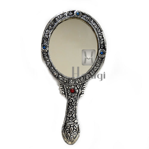 Purse Mirror Big Oval Shape Silver Finish Buy Online- Hayagi