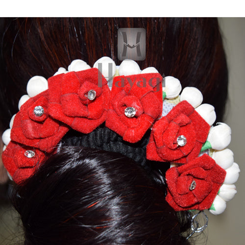 Hair Bun Maroon Rose Mogra Flowers For Women Online_Hayagi