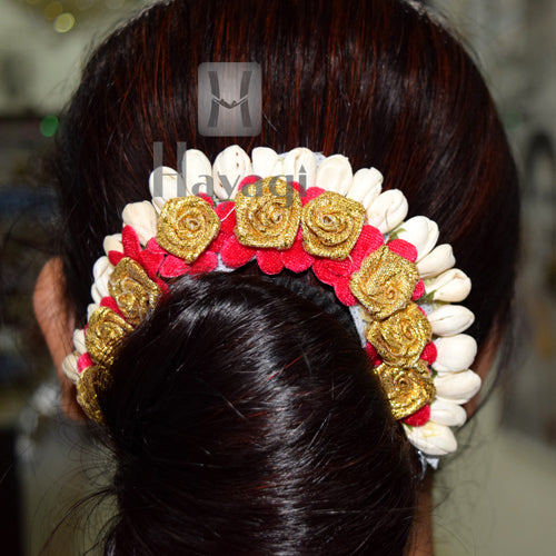 Hair Bun Golden White Pink Flower Decoration For Women Online-Hayagi