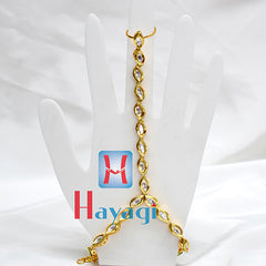 Bracelet with Finger Ring Petal Design Hath Phool Panja - Hayagi