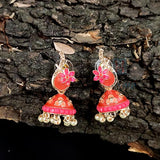 Strawberry Shade Minakari Flower Design Jhumki _Hayagi (Pune)
