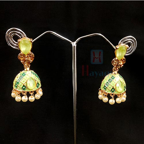 Light Green Studded Jhumki_Hayagi (Pune)
