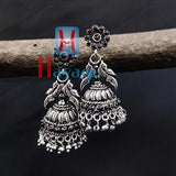 Peacock Oxidized Silver Jhumki Earrings_Hayagi(Pune)
