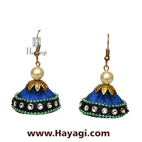 Silk/Resham Thread Blue Jhumka Earrings Online - Hayagi