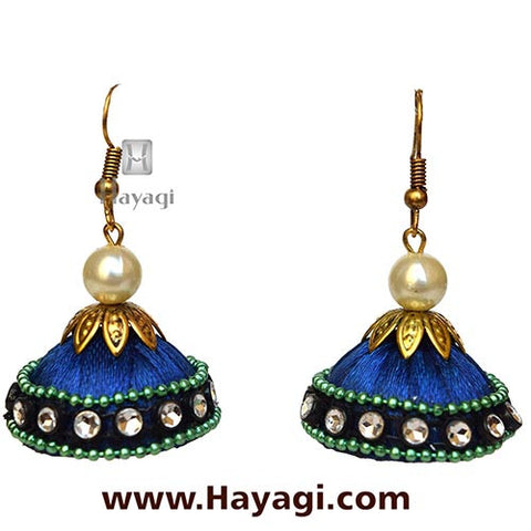 Silk/Resham Thread Blue Jhumka Earrings Online - Hayagi - Beeline  - 2