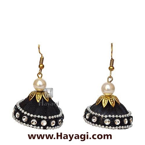 Silk Thread Black Jhumka Earrings for Online Sale - Hayagi - Beeline  - 2