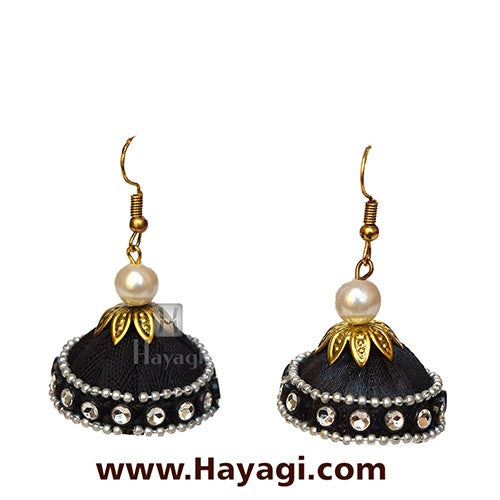 Silk Thread Black Jhumka Earrings for Online Sale - Hayagi - Beeline  - 1