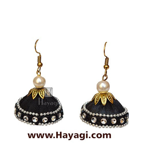 Silk Thread Black Jhumka Earrings for Online Sale - Hayagi