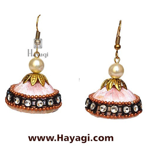 Silk Thread Pink Jhumka Earrings for Women - Hayagi