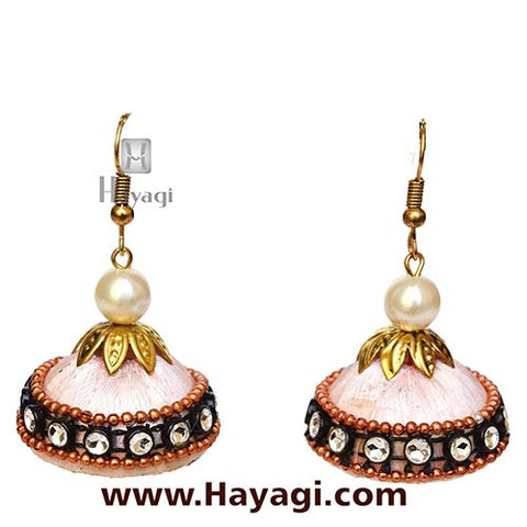 Silk Thread Pink Jhumka Earrings for Women - Hayagi - Beeline  - 2