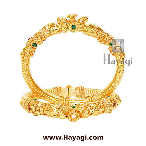 Gold Finish Openable Kada, Bangles Online - Hayagi