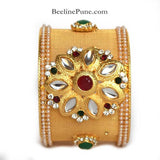 Kada-Broad Kada with Green Marron Stone & Pearl Online-Hayagi - Beeline  - 1