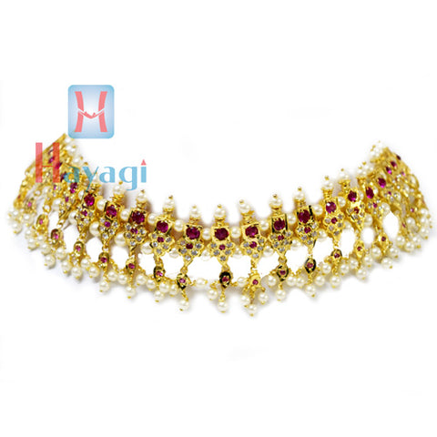 23 Peti Chinchpeti Haar in 2 Strings with Pink & White Stone -Hayagi