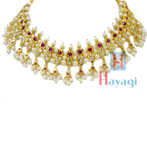 21 Peti Chinchpeti Haar in 3 Strings Pearl Square Shape Design-Hayagi