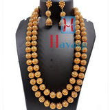 Green Crystal, Golden Beads 2 Line Necklace Set Online - Hayagi Pune